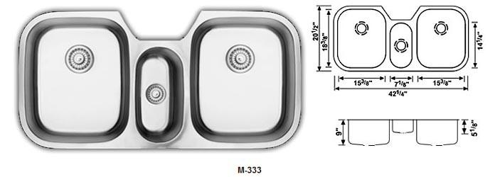 Triple Bowl Kitchen Sink